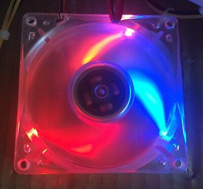 QTY 5: 80mm MultiColor Quad LED 4-pin 12VDC Cooling Case MOD Fan for Gaming PC