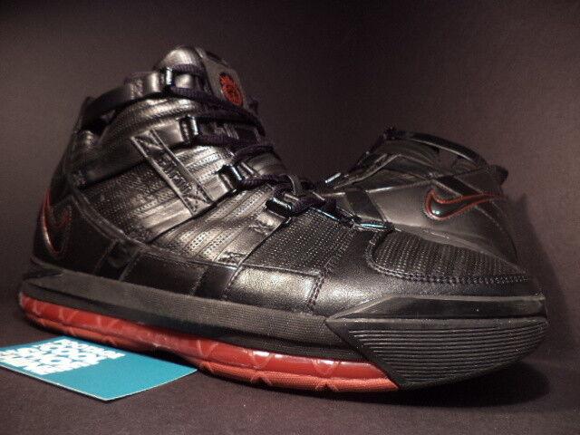 2006 BROT Nike Zoom LEBRON III 3 BLACK CRIMSON ROT BROT 2006 SILVER GREY 312147-004 9.5 16302e