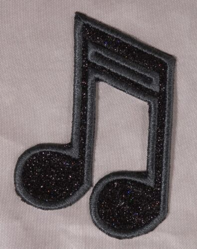 Embroidered Black Glitter Sparkle Music Notes Applique Patch Iron On Sew On USA
