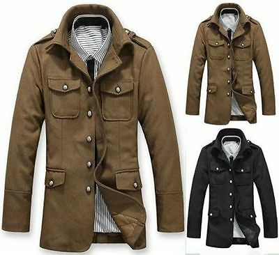 Korean Handsome Men's New Trench Coats Jacket Outwear Military Luxury Overcoat 4