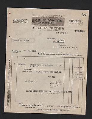Paris, Rechnung 1929, Rozier Frères Les Belles Chambres Du Temps Présent Kann Wiederholt Umgeformt Werden.