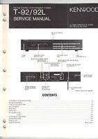 Original Factory Kenwood Service Manual T-92 92L stereo tuner receiver Repair