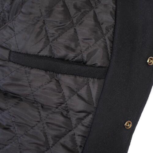 Black Nero Varsity Jacket Wool /& Real Leather sleeves College Letterman Bomber