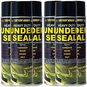 6 x Underseal Spray On Aerosol Underguard Paint Under Body Protection Seal 500ml
