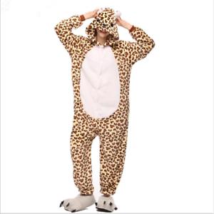 Soft Plush Leopard Unisex Adult Pajamas Cosplay Costume One Piece Sleepwear Suit