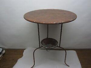 Vintage bistro metal round table mid century modern ebay for Mid century bistro table