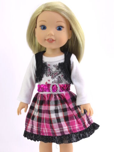 "Pink Plaid Butterfly Dress Fits American Girl 14.5/"" Wellie Wisher Doll Clothes"