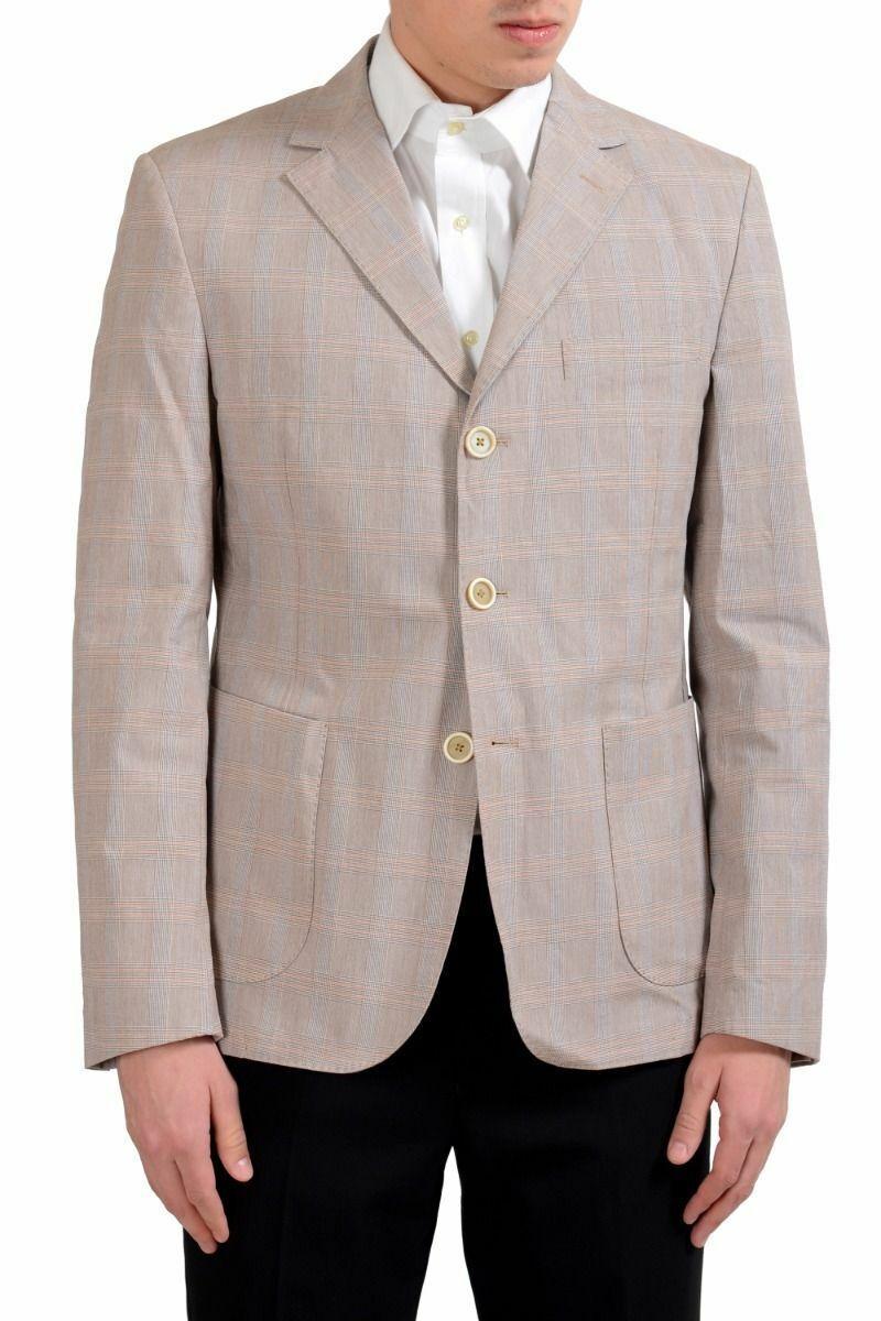 Malo Men's Plaid Stretch Three Button Blazer Sport Coat Size 40 42 44