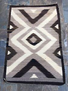 Antique Navajo Two Grey Hills Rug Eye Dazzler Native