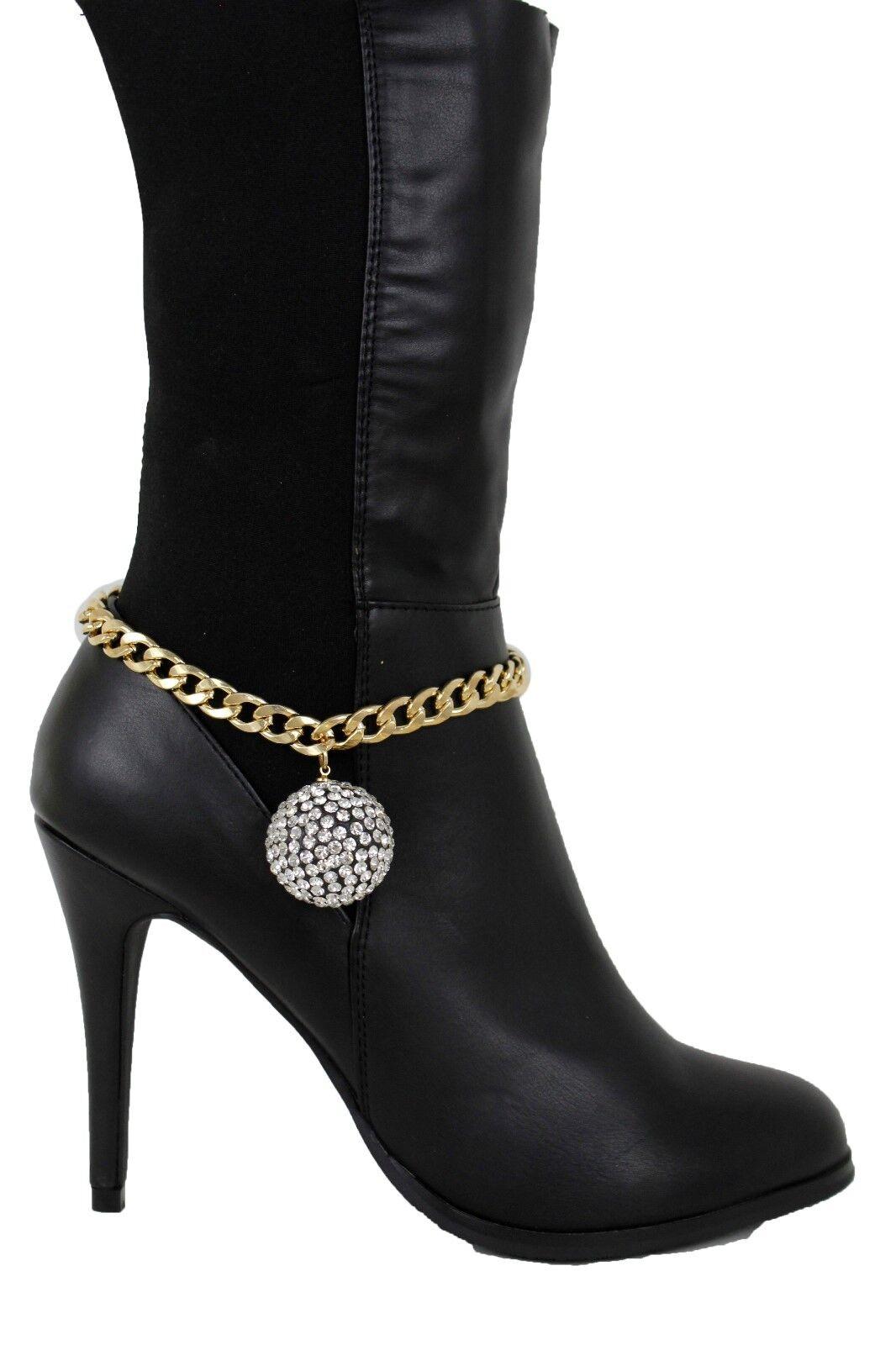Women Boot Bracelet Gold Metal Chain Links Shoe Anklet Bling Disco Ball Charm