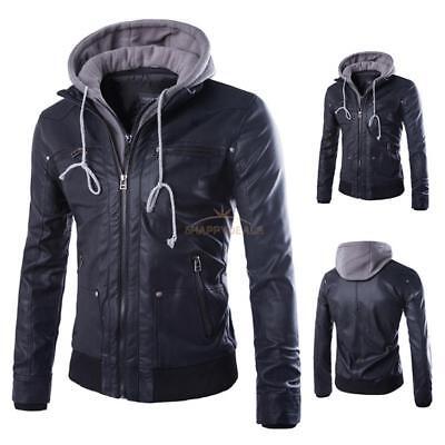 Men's Winter Warm Hooded Coat Slim Fit PU Leather Jacket Zipper Outwear Overcoat