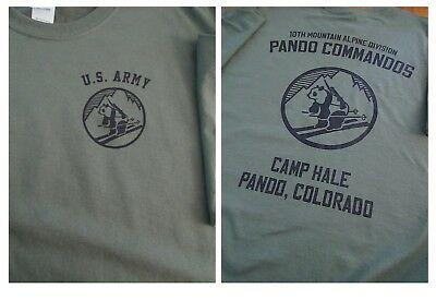 los angeles c3416 dbc49 10TH MOUNTAIN Alpine PANDA COMMANDOS Camp Hale T-Shirt LARGE Army | eBay