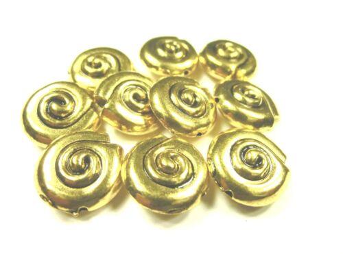 10 x caracol spacer color oro 13x6mm metal perlas marítimo #s061