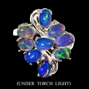 Unheated-Oval-Fire-Opal-Rainbow-Full-Flash-6x4mm-925-Sterling-Silver-Ring