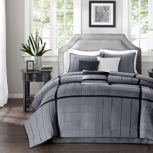BEAUTIFUL 7 PC GREY BLACK IVORY SOFT MODERN COMFORTER SET QUEEN CAL KING SIZES