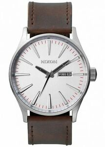 NEW-Nixon-Herrenuhr-A105-1113-Sentry-Leather-Silver-Brown-Leder-Uhr