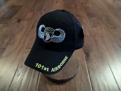 MILITARY BALL CAP 101ST AIRBORNE ARMY HAT BLACK WITH SHADOW OF WINGS