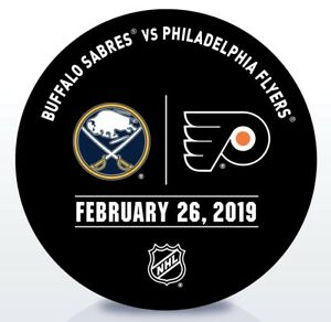 Philadelphia-Flyers-Issued-Unused-Warm-Up-Puck-2-26-19-Vs-Buffalo-Sabres