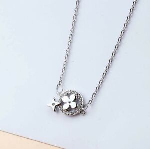 Silver Flower Lucky Clover SP Pave Cubic Zirconia White Gold Pendant Necklace
