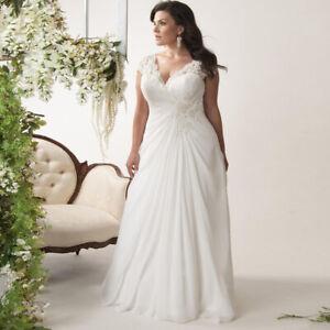 V Neck Plus Size White//Ivory Bridal Gown Chiffon Wedding Dress Stock Size 14--26