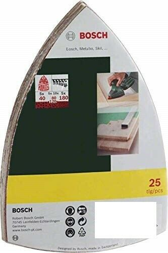 BOSCH Mixed Grit Delta Sanding Sheets To Fit: Bosch PSM 200 AES 25 Pack