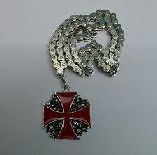 Ciondolo, Collana croce di malta Rosso e testine di morte catena ,bikers,costume