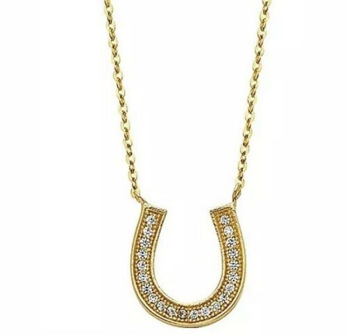 "Good luck Horseshoe Necklace 14k REAL GOLD Lucky Yellow manmade diamond 18/"""