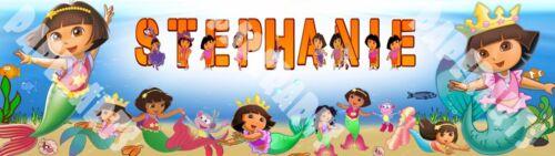 "Personalized Dora Mermaid Poster 30/"" x 8.5/"" Custom Name Printing Glossy Banner"