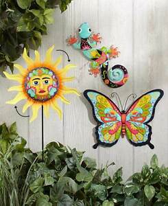 Colorful Butterfly Metal Outdoor Wall Decor Southwestern Gecko