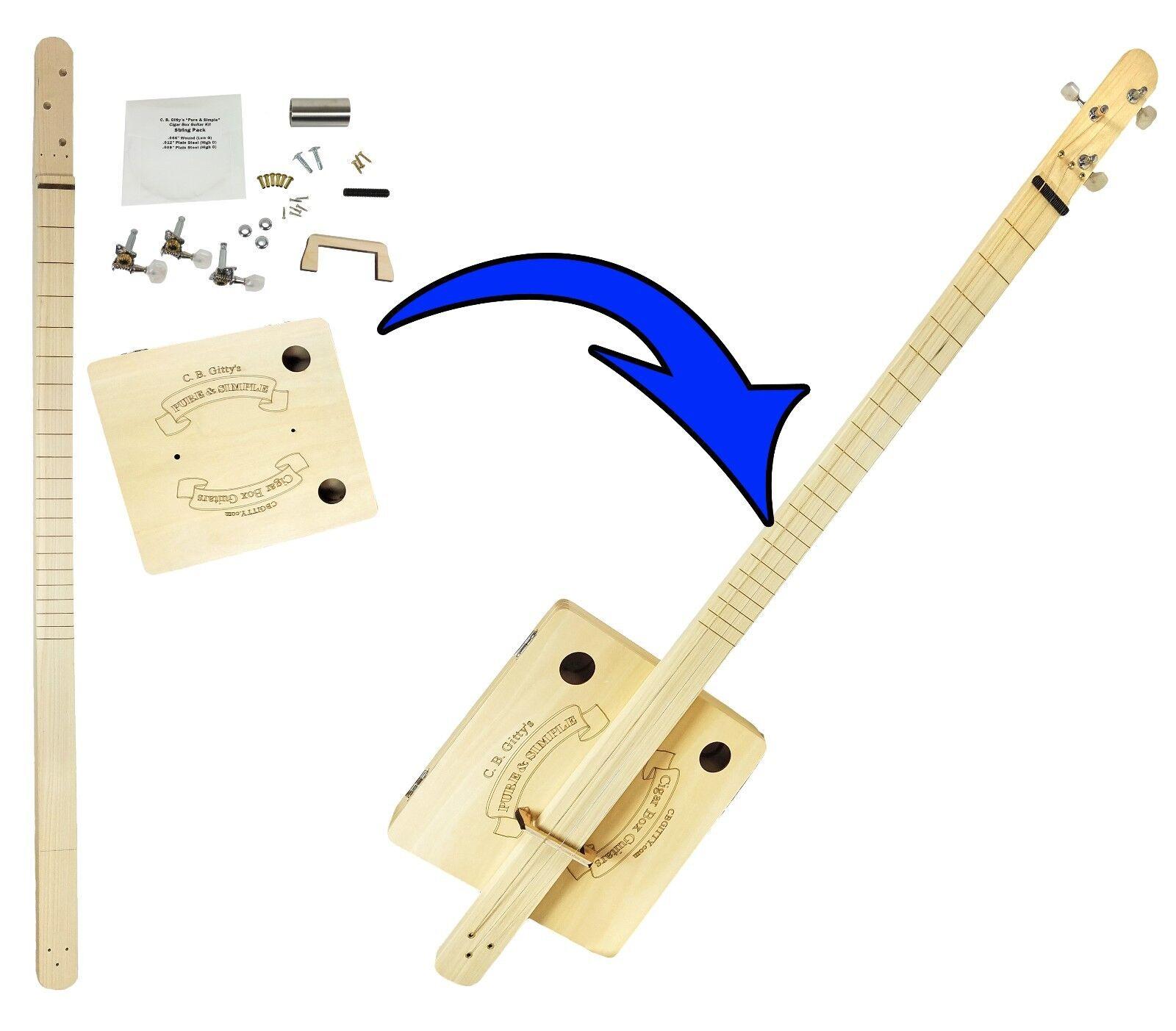"Easy Assemble Diy Metal Garage Or Shop: ""Pure & Simple"" 3-string SLIDE DIY Cigar Box Guitar Kit"