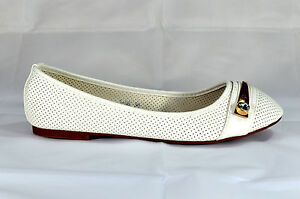 Classy-Women-039-s-Flats-Slip-On-Shoe-Leather-Look-White-Size-gr-36-41-A-366