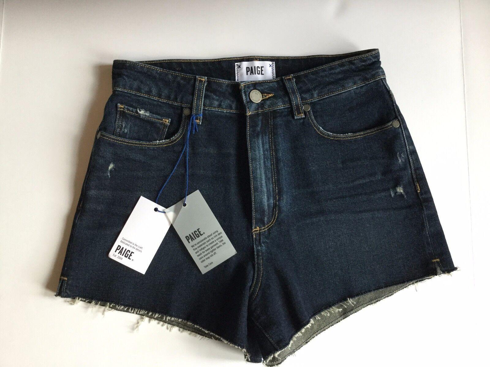 Neuf avec étiquettes Paige Jeans Sz29 Margot HIGH RISE RAW Hem Stretch courte Titus déstructurée