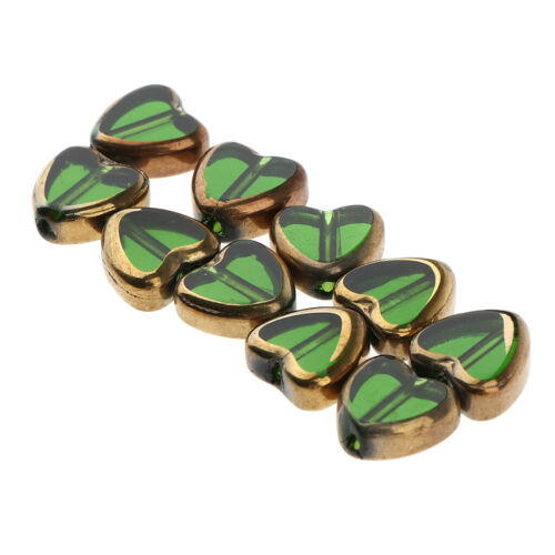 10x Glass Heart Shape Beads Earrings Pendant Charms for Jewelry Making Green