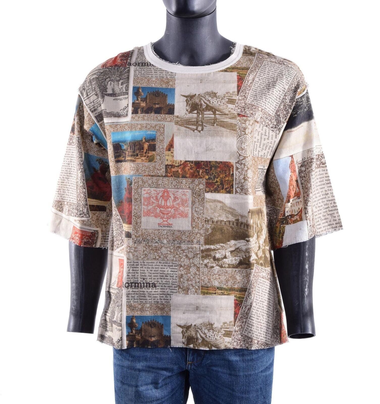 DOLCE & GABBANA RUNWAY Leinen T-Shirt mit Sizilien Taormina Print Beige 05680