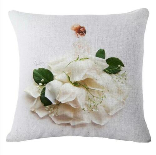 """18/"""" Flowers Girl Cotton Linen Pillow Case Sofa Throw Cushion Cover Home Decor"""