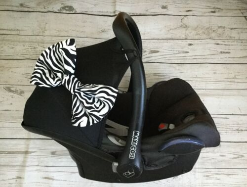 Padded hood bow car seat pram pushchair zebra print cotton fabric new animal