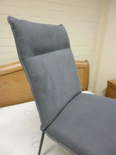 New 6 x Contemporary Metal & Grey Fabric Dining Chairs *Branded Furniture*