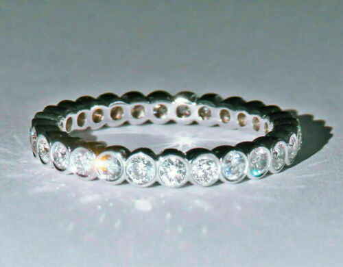 1.50Ct Round Simulated Moissanite Eternity Wedding Band Ring 14k White Gold Over
