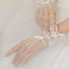 1 Pr.Cuffed Wedding Party Prom Stretch White Fish Net Lace Gloves