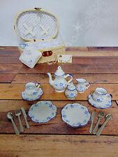 DELTON 19Pc CHILDRENS Porcelain Blue Forget Me Not TEA TIME PLAY SET & BASKET!