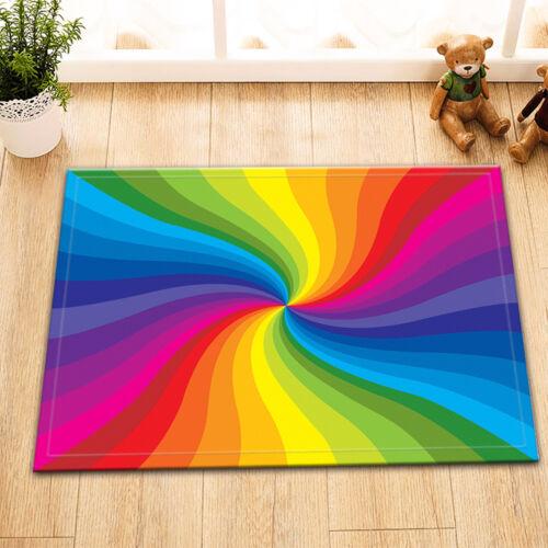 Rainbow Whirlpool Shower Curtain Liner Waterproof Fabric Bathroom Mat Hook 72x72