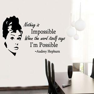 Audrey Hepburn Quote celebrity vinyl Wall Stickers Art Room ...