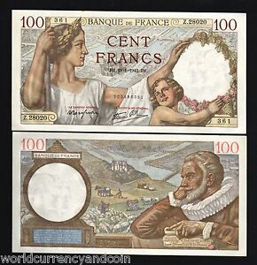 FRANCE-100-FRANCS-P-94-1942-SULLY-LARGE-UNC-RARE-CURRENCY-MONEY-BILL-BANK-NOTE