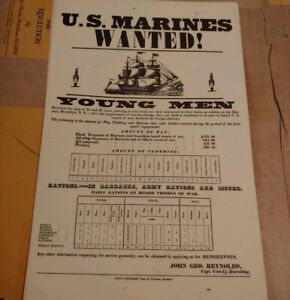 FACSIMILE-GOV-DUPLICATE-1935-PRE-WWII-RECRUITMENT-POSTER-NAVY-MARINES-WAGES