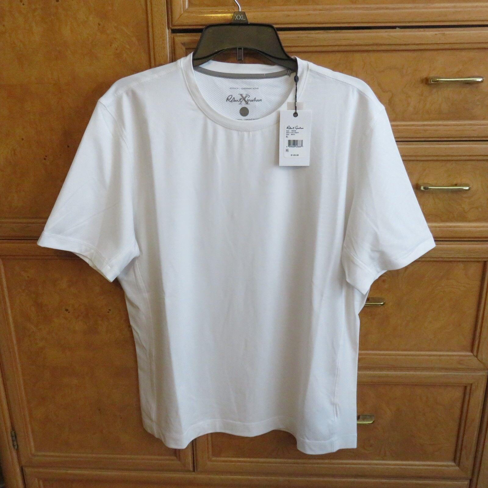 Men's Robert Graham active trevor short sleeve white shirt size XL NWT