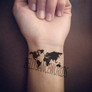 1 set of 2 black world map temporary tattoo body art waterproof image is loading 1 set of 2 black world map temporary gumiabroncs Image collections