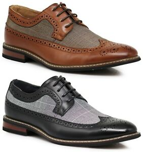 97acdaecb30eb7 Men Dress Shoes WingTip Oxford Leather Lined Lace Up Black Brown ...