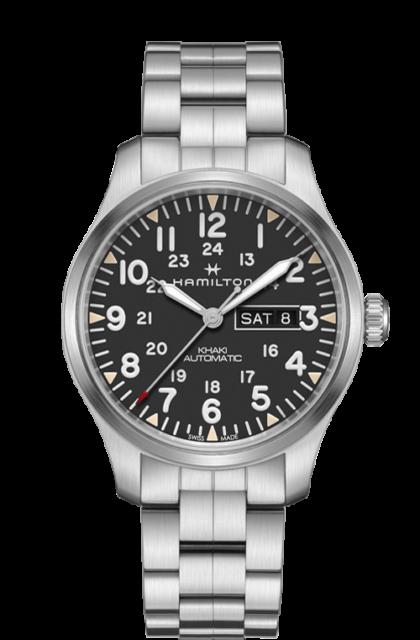 83e35025b New Hamilton Khaki Field Day Date Auto Black Dial Mens Watch H70535131