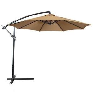 10 Ft (environ 3.05 M) Porte Deck Patio Parapluie Off Set Tilt Cantilever Suspendue Canopy Tan-afficher Le Titre D'origine