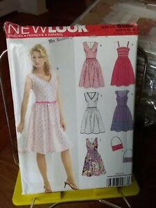 Oop-New-Look-6586-misses-summer-dress-full-skirt-fitted-bodice-sz-10-22-NEW